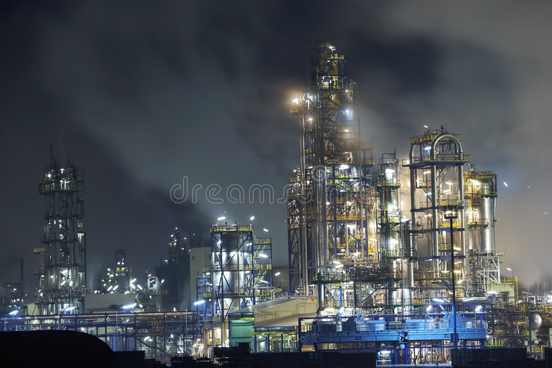 Big oil refinery stock images