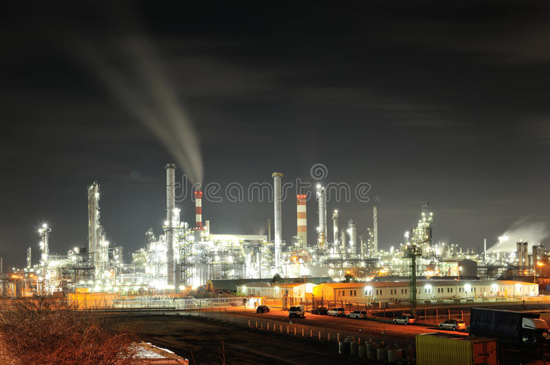 Big oil refinery in night. Lights from OMV oil refinery in Schwechat, Austria in night royalty free stock photo