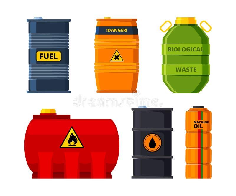 Big oil tanks. Set of barrels for oil or toxic fuel royalty free illustration