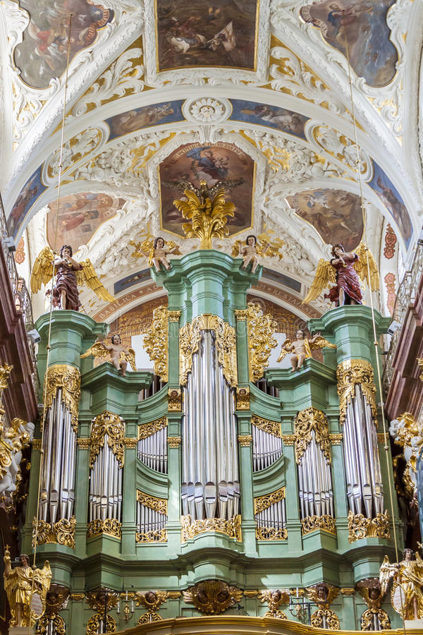 Beauty organ in Jasna Gora Sanctuary - Czestochowa. Big old beauty organ in Basilica on Jasna Gora Sanctuary - Czestochowa, Poland royalty free stock images