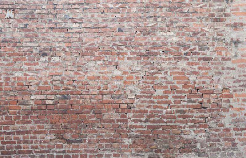 Big old brick wall as background or wallpaper. Red brick wall texture, pattern. Exterior or interior wall stock photo