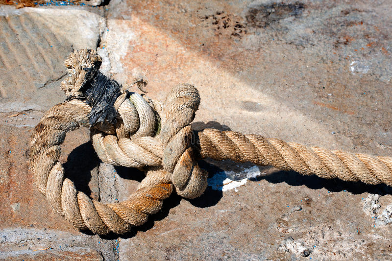 Big Old Rope on Stone royalty free stock photography