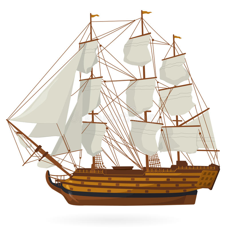 Big Old Wooden Historical Sailing Boat Galleon On White. With Sails, Mast, Brown Deck, Guns ...