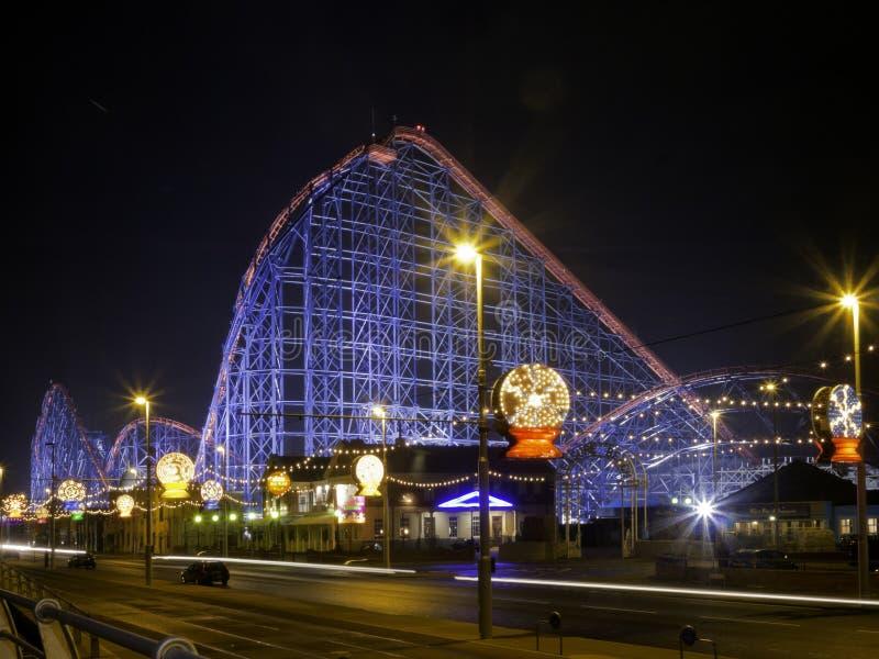 The Big One roller coaster ride illuminated royalty free stock photo