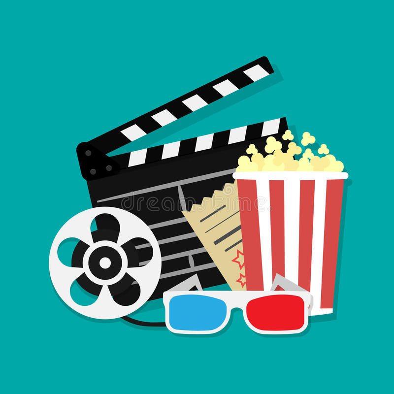 Big open clapper board Movie reel Cinema icon set. Movie and film elements in flat design. Cinema and Movie time flat icons with f. Ilm reel, popcorn, 3d glasses vector illustration