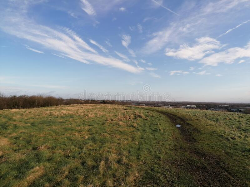 Big open field clear skies royalty free stock photos