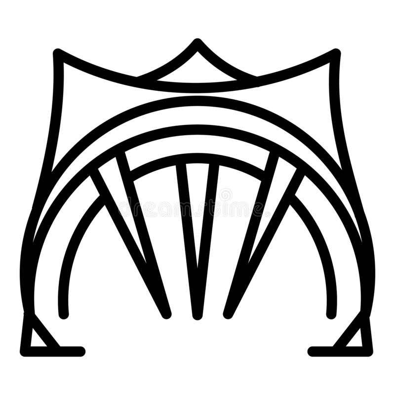 Big open tent icon, outline style stock illustration
