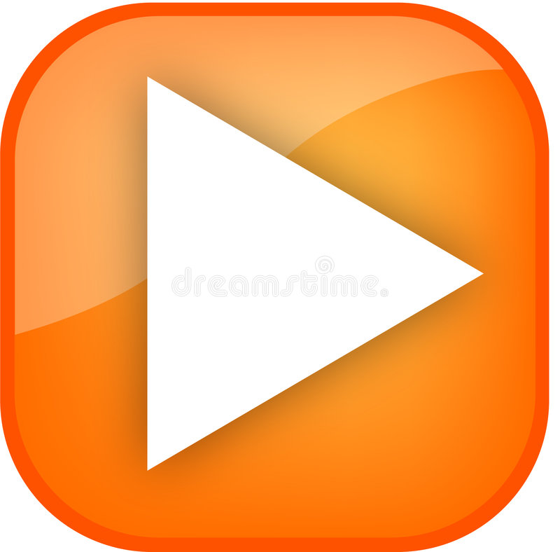 Big orange play button vector illustration