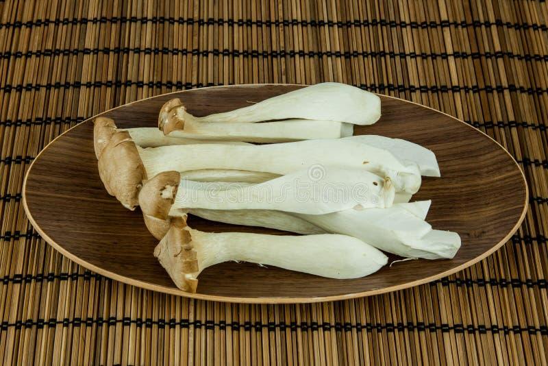 Big Oyster Mushroom (Pleurotus Eryngii Mushroom) decorated on plate over wooden background. Big Oyster Mushroom (Pleurotus Eryngii Mushroom) decorated on plate stock photos