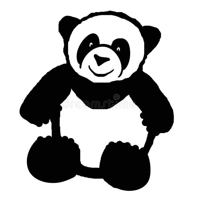 Big panda or bamboo bear. Rough black and white brush drawing. Isolated image of a sitting panda. stock illustration