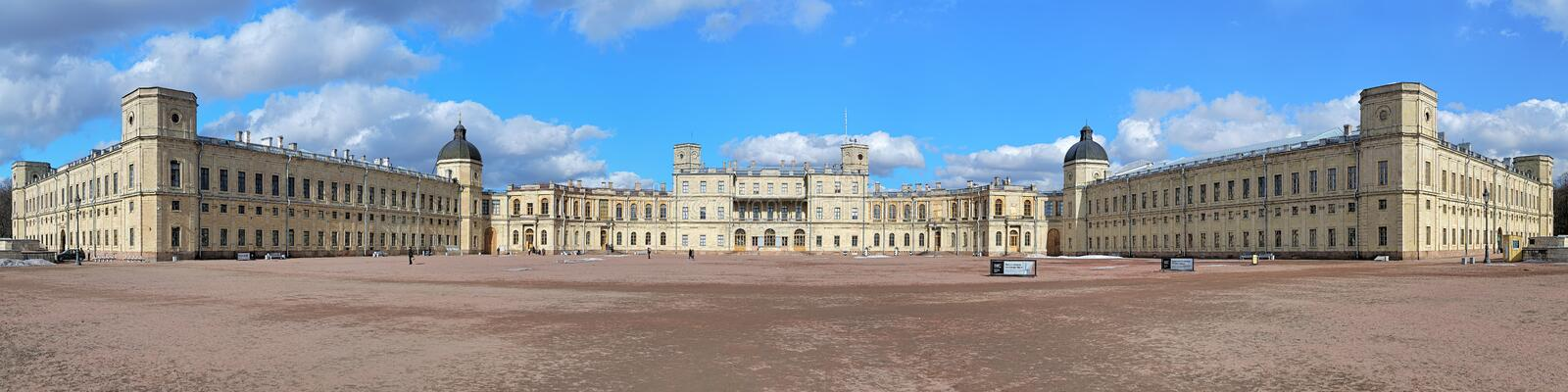 Big panorama of the Great Gatchina Palace, Russia royalty free stock image