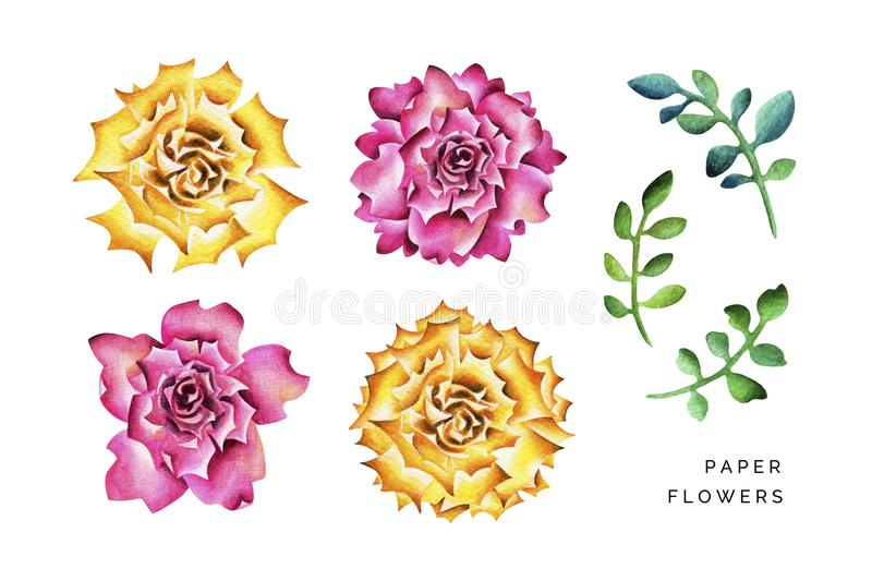 Big paper flowers with branches. stock photos