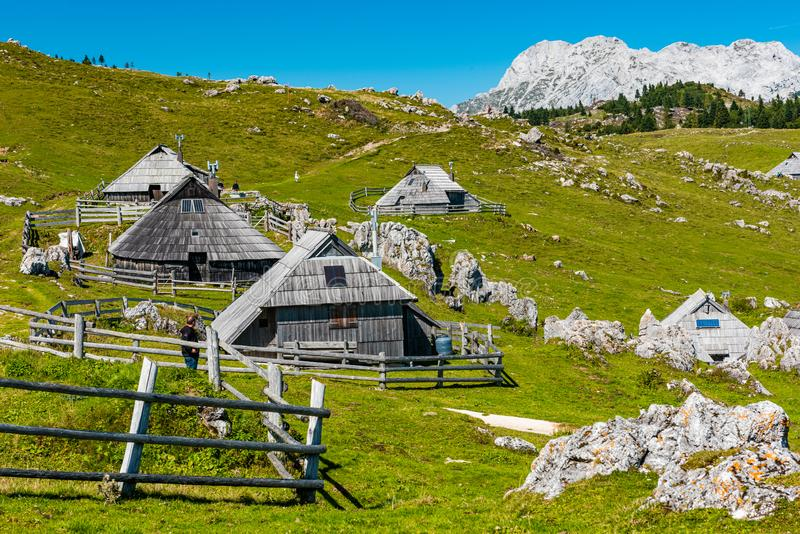 Big Pasture Plateau or Velika Planina in Slovenia. traditional Wooden Shepherd Shelters in Mountains. Agriculture, alpine, alps, architecture, balkan stock photo