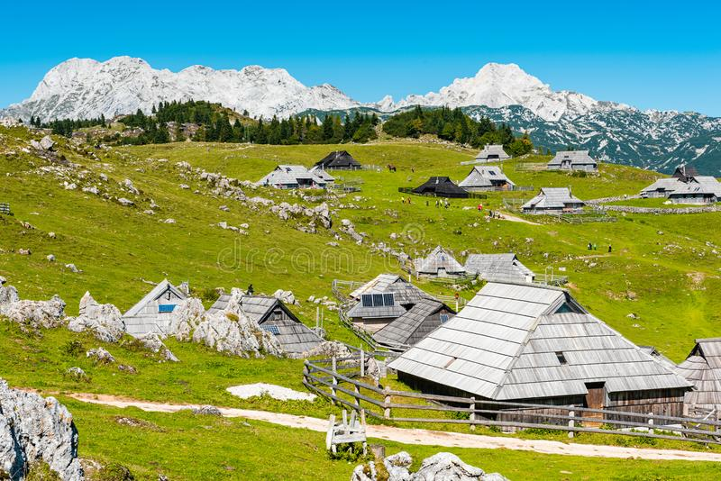 Big Pasture Plateau or Velika Planina in Slovenia. traditional Wooden Shepherd Shelters in Mountains. Agriculture, alpine, alps, architecture, balkan royalty free stock photography