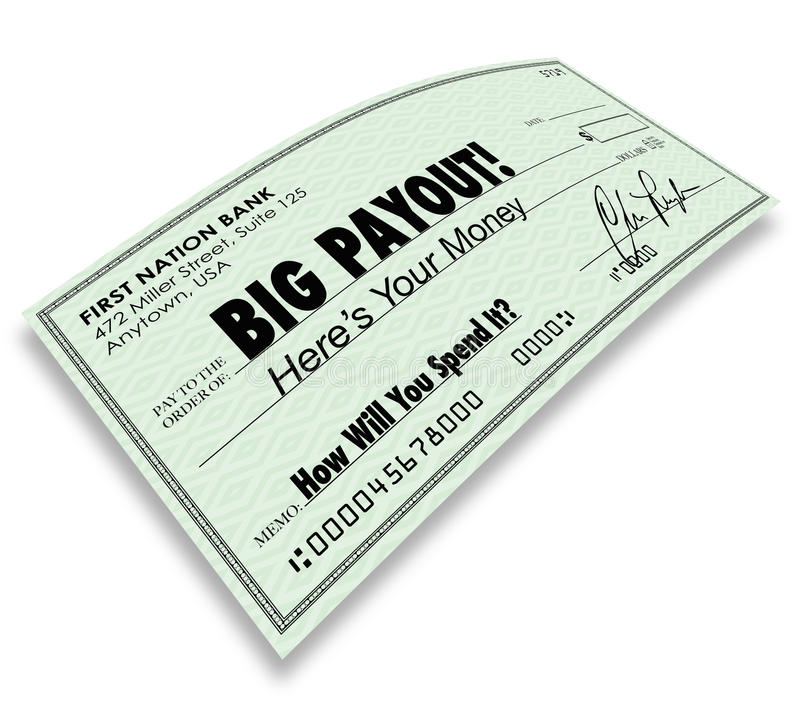 Big Payout Check Money Earnings Salary Commissions royalty free illustration