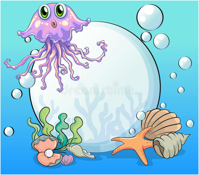 A big pearl and the violet octopus under the sea royalty free illustration
