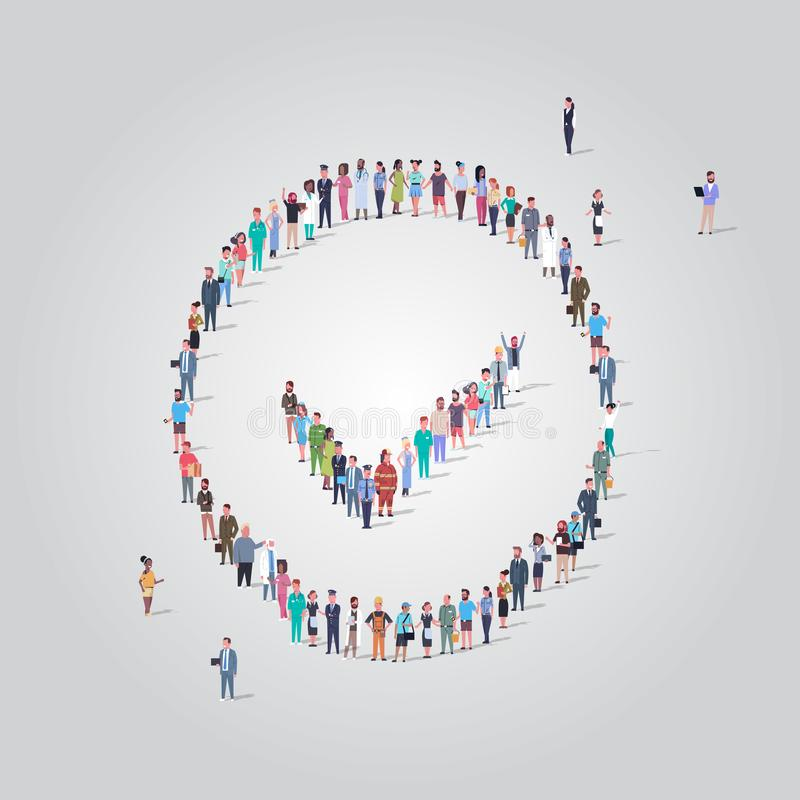 Big people group standing together in check mark shape crowd of different occupation employees making choice approved vector illustration