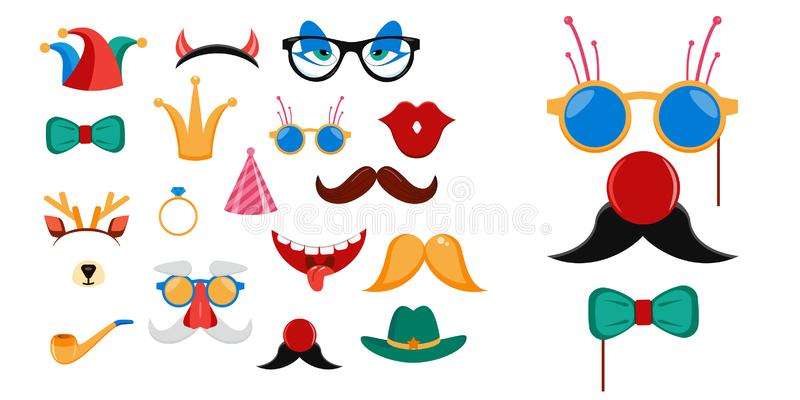 Big photo booth props set for birthday or fun party vector illustration royalty free illustration