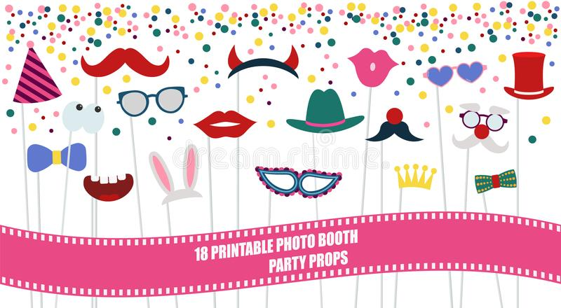 Big photo booth props set vector illustration. Big photo booth props set for birthday or party vector illustration. Printable icons for mustache, hats vector illustration