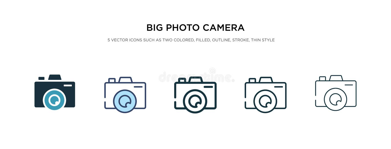 Big photo camera icon in different style vector illustration. two colored and black big photo camera vector icons designed in stock illustration