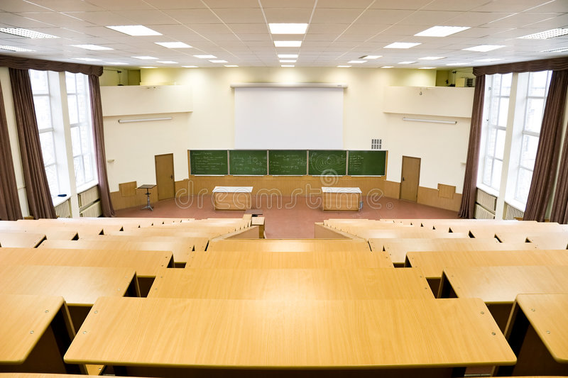 Big physics lecture hall royalty free stock photography