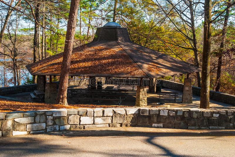 Picnic area in Stone Mountain Park, USA. Big picnic area with tables and roof in the Stone Mountain Park in sunny autumn day, Georgia, USA stock image