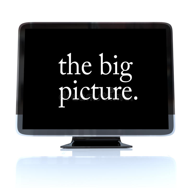 The Big Picture - High Definition Television HDTV. A HDTV television with the words The Big Picture on the screen vector illustration
