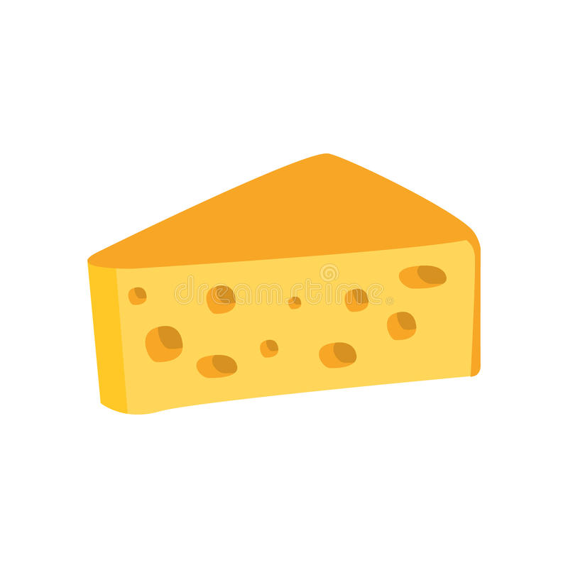 Big Piece Of Swiss Cheese With Holes Primitive Cartoon Icon, Part Of Pizza Cafe Series Of Clipart Illustrations stock illustration