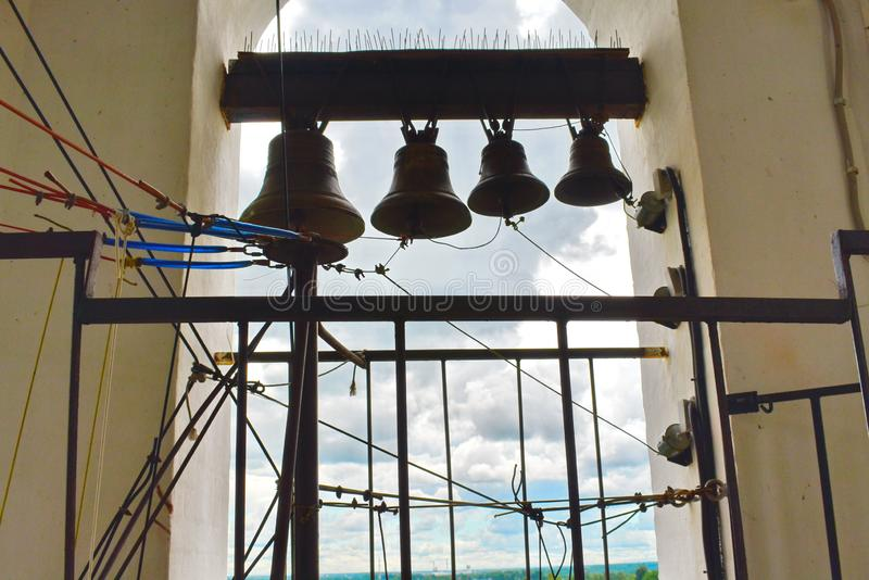 Big pig-iron bell in the bell tower in church royalty free stock photos