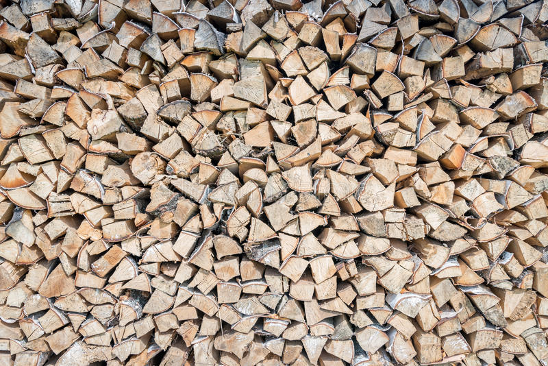Big pile of birch wood logs stored for winter. Good for background stock photo