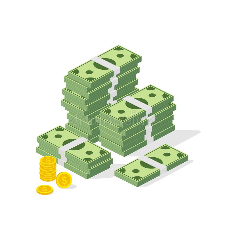 Big pile of cash. Concept of big money. Hundreds of dollars and coins. Vector isometric illustration. stock illustration