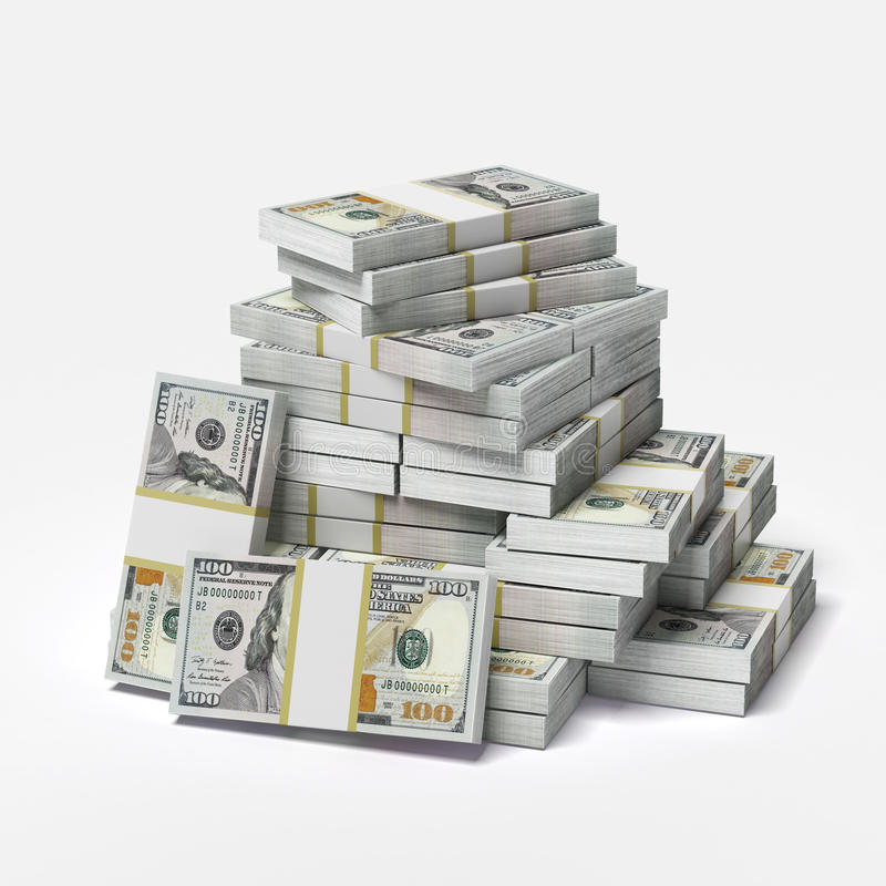 Big pile of dollars. Isolated on a white background. 3d render stock illustration