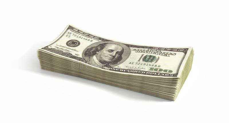 Big pile of dollars. Isolated on white background royalty free stock photos