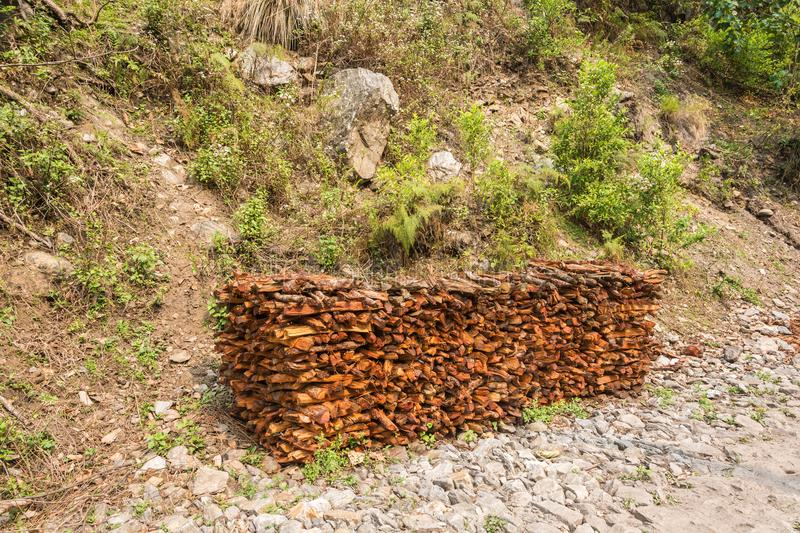 A big pile of firewood. A big pile of firewood on the background of rocks and green grass and bushes royalty free stock image