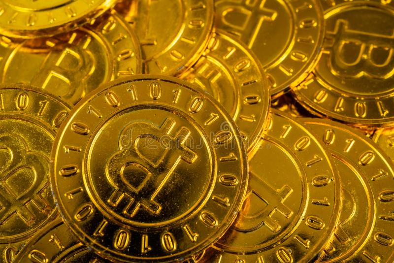 Big pile of Bitcoin coins. Big pile of gold shiny Bitcoin coins piled stock images