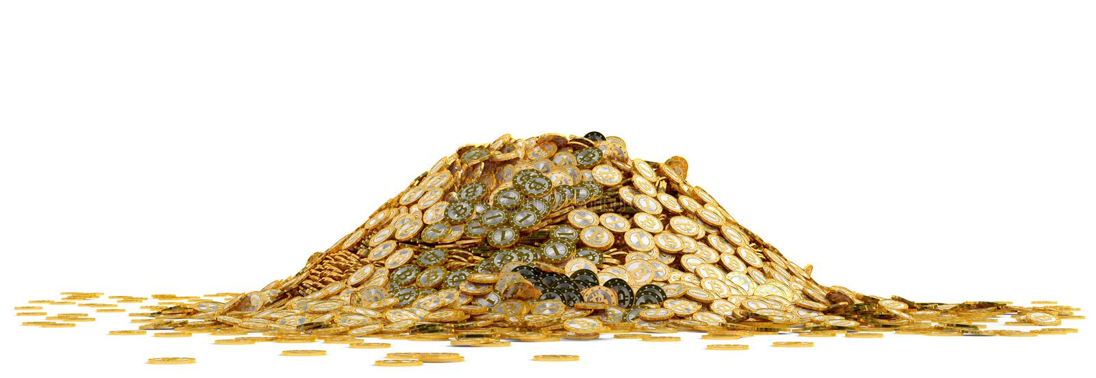 Big pile of golden Bitcoins - isolated on white. My own design for Bitcoins. Rendered with Blender 3D royalty free stock photo