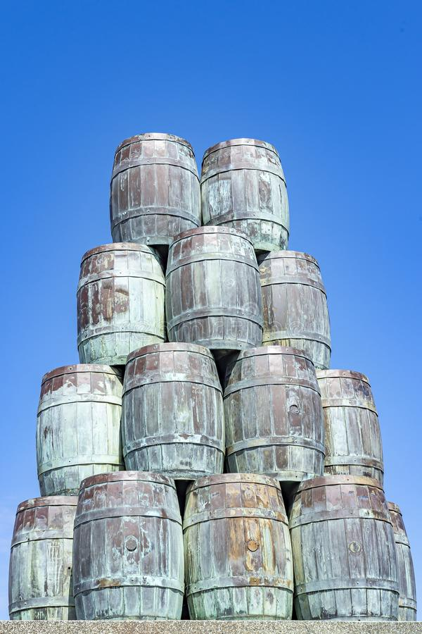 A big pile of herring vessels in the harbour of Scheveningen.  royalty free stock photography