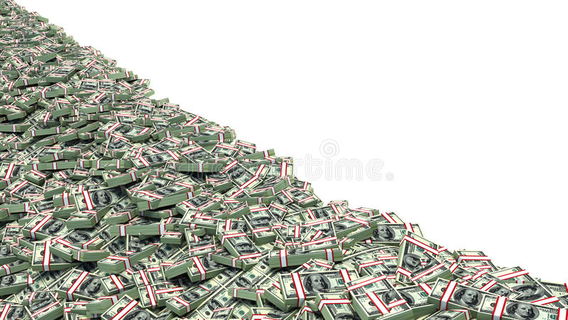 Big pile of money. dollars over white background vector illustration