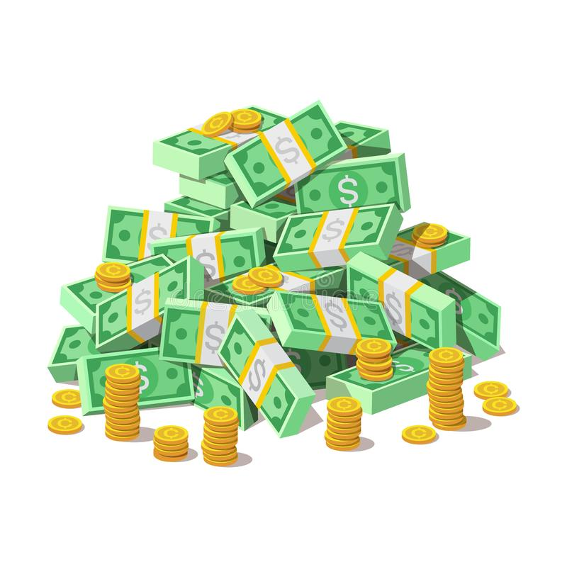 Free Big Pile Of Cash Money Banknotes And Gold Coins, Cents. Stock Photos - 126957613