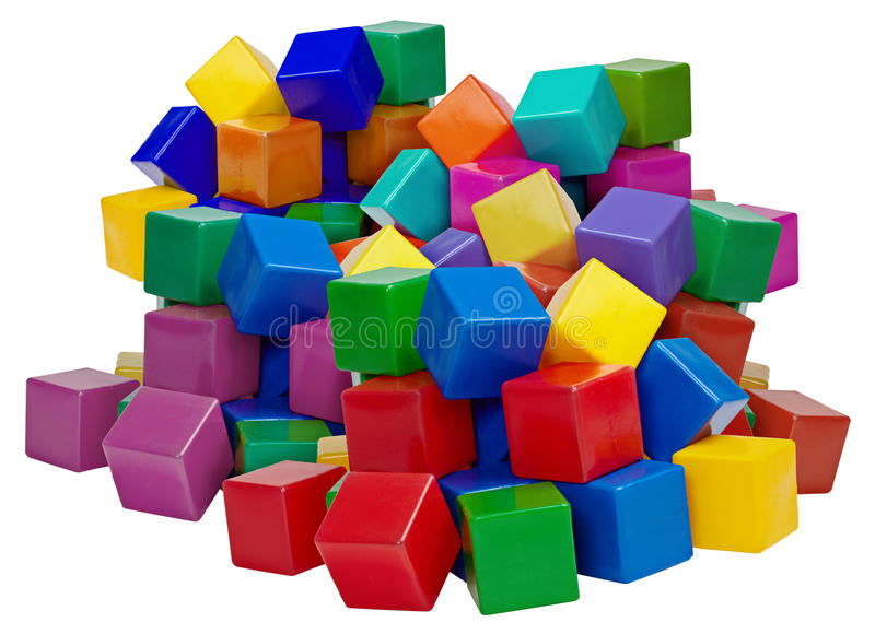 Big pile of plastic blocks isolated on white stock for Large acrylic block