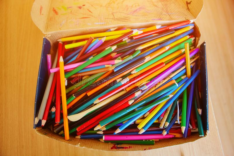 A big pile of school colored wooden pencils.  stock image