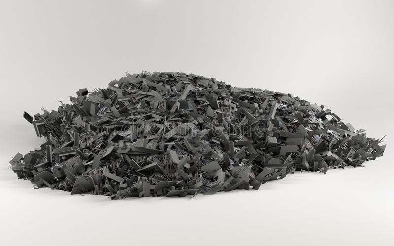 A big pile of scrap on light background stock illustration