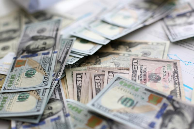 Big pile of US money lying down in random order royalty free stock photography