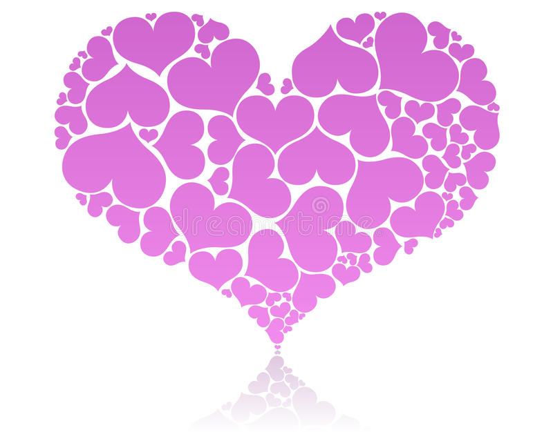 Big pink heart. Shape comprised by smaller ones royalty free illustration