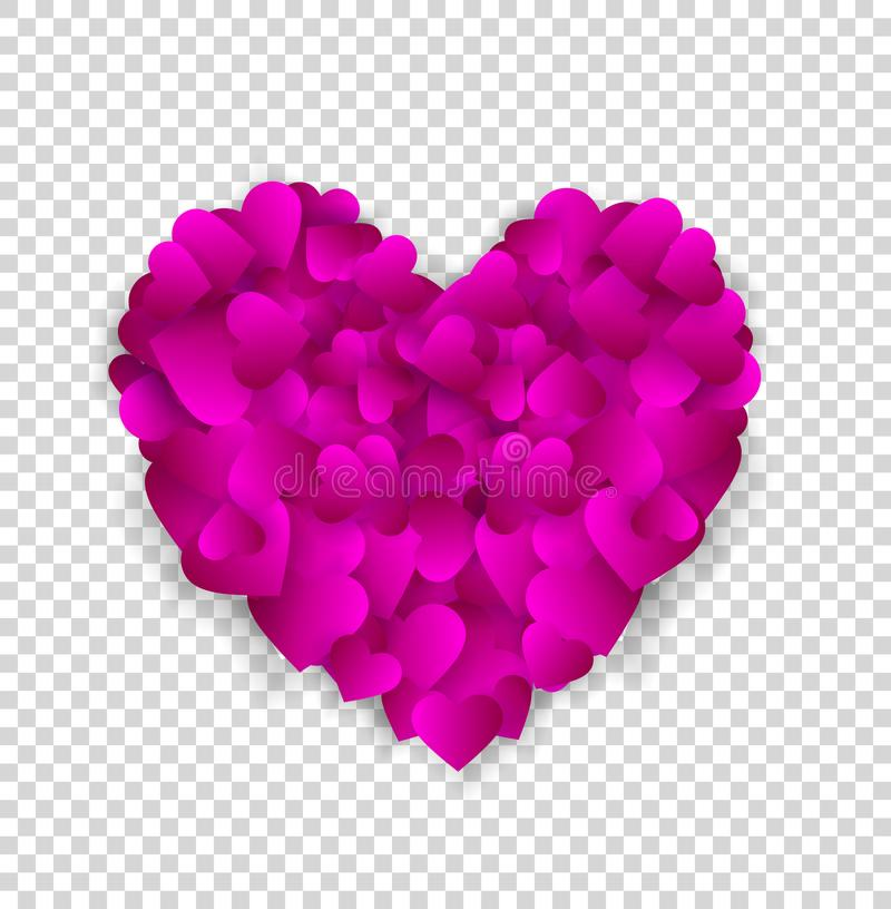 Big pink heart made of small hearts isolated on transparent royalty free illustration