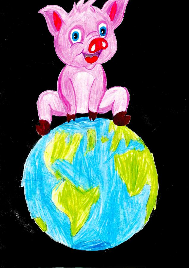 Big pink pig sitting on the Earth, child drawing. Big pink pig sitting on the Earth, black background, child drawing royalty free illustration