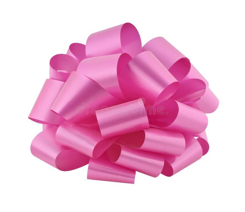 Big pink ribbon bow cutout stock photography