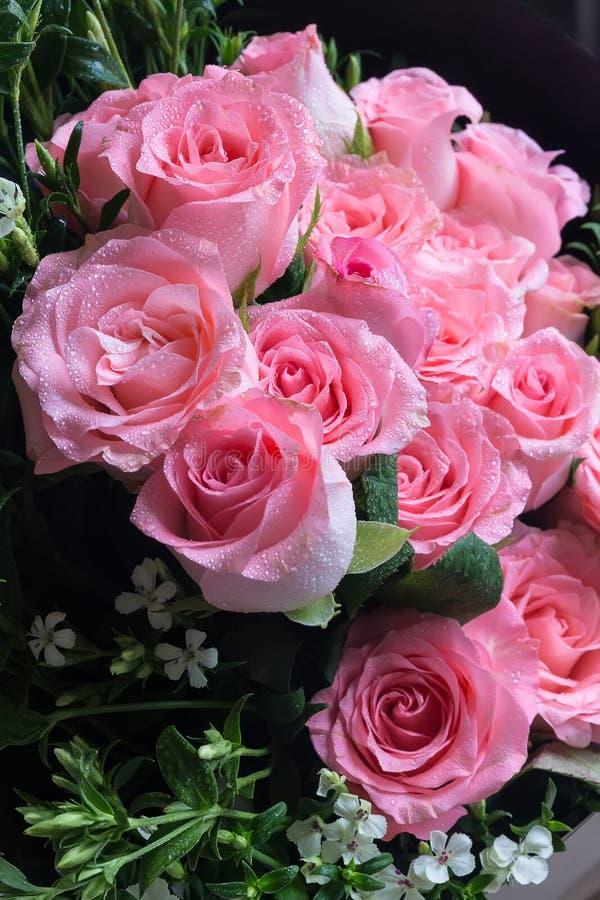 Big Pink Rose Flower Bouquet. Wedding Rose Bouquet Gift Stock Photo ...