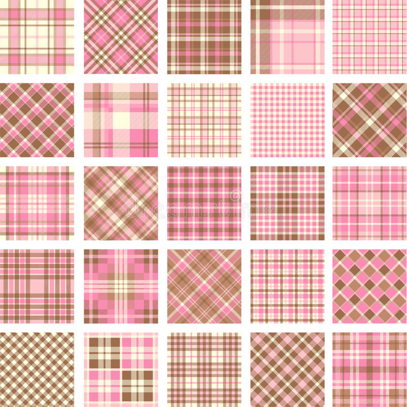 Big plaid pattern set stock illustration