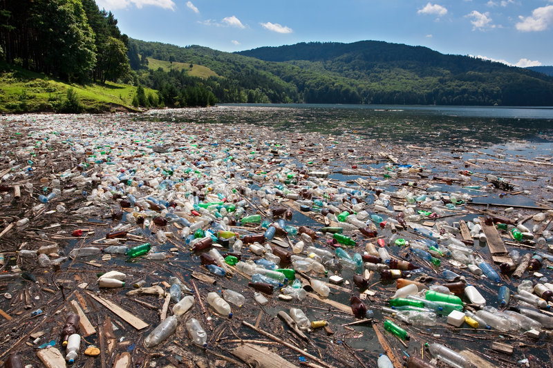 Big plastic pollution royalty free stock photos